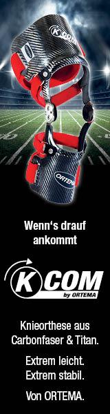 Wenn's drauf ankommt: Knieorthese aus Carbonfaser & Titan. Extrem leicht. Extrem stabil. Von ORTEMA.
