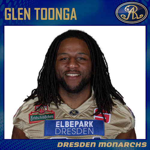 Glen Toonga 2019 im golden Monarchs Jersey!