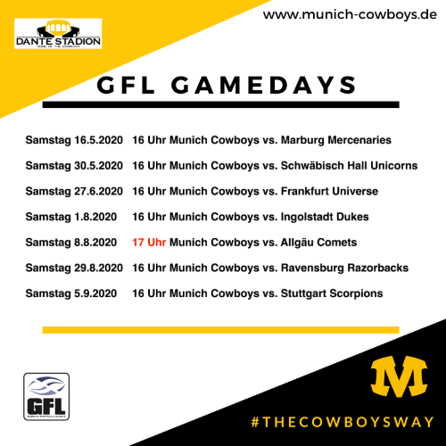 Munich Cowboys GFL Heim-Events 2020